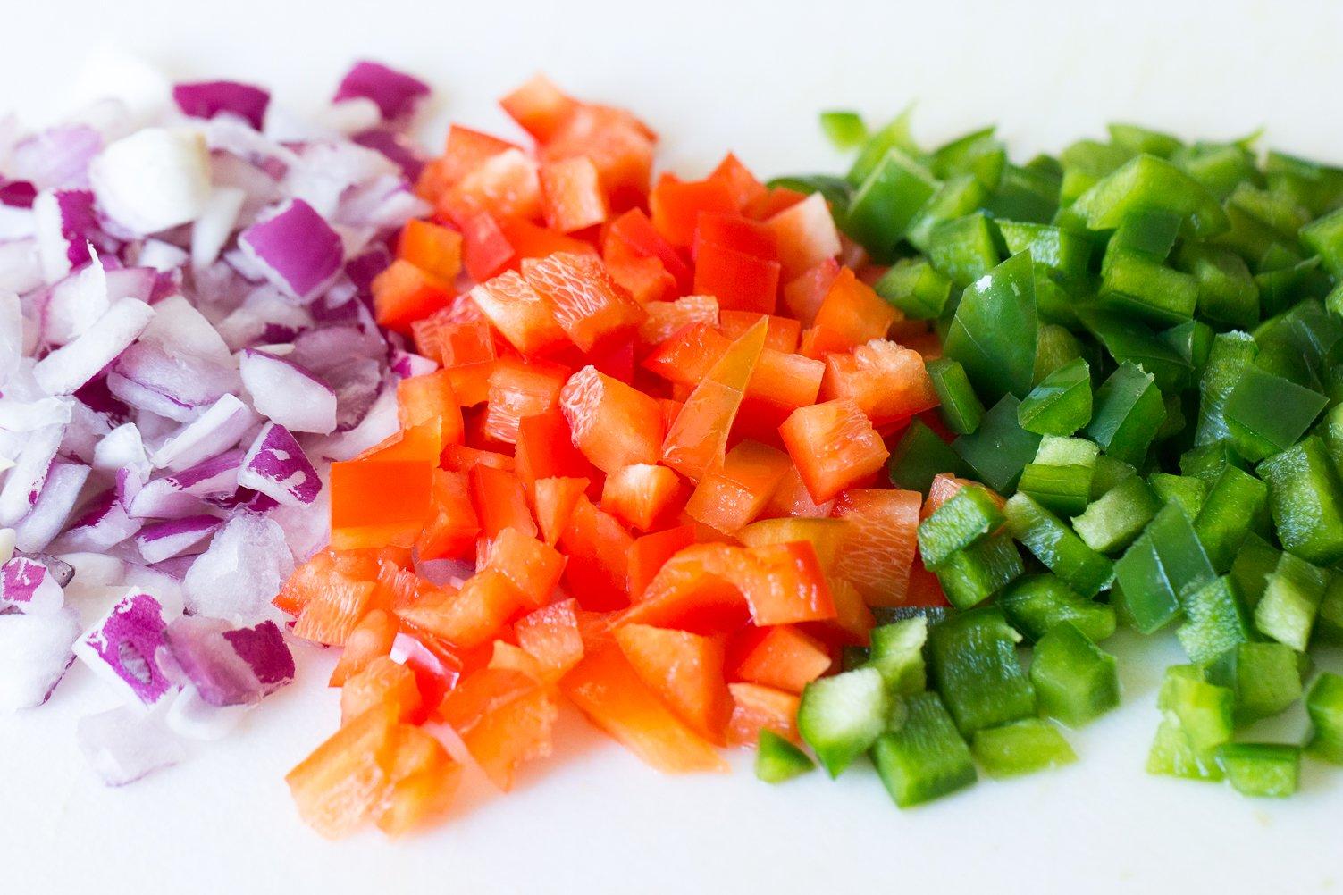 chopped veggies for Creamy Black Bean Salsa