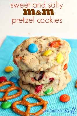 Sweet and Salty M&M Pretzel Cookies