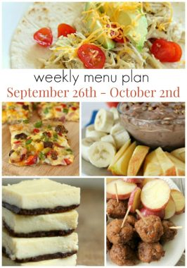 Weekly Menu Plan September 26th – October 2nd
