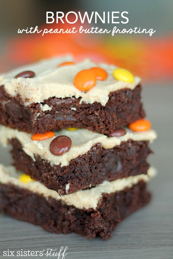 Brownies with Peanut Butter Buttercream Frosting | Six Sisters' Stuff