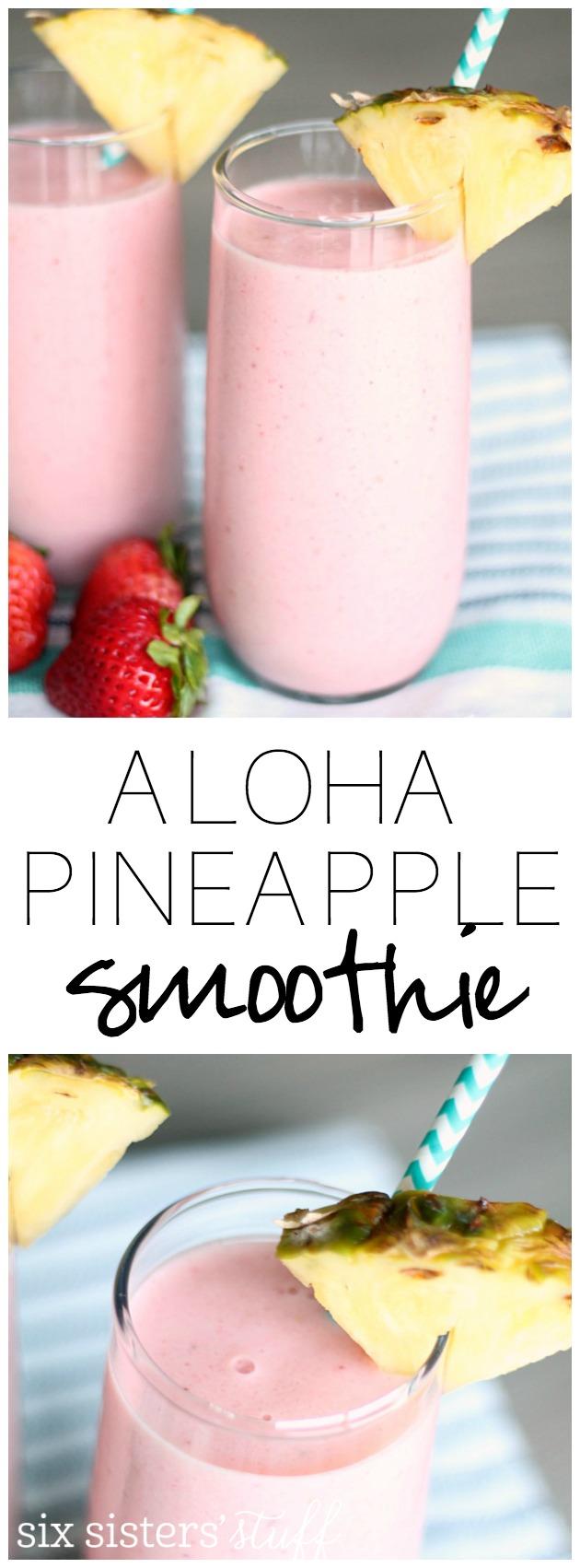 Copycat Jamba Juice Aloha Pineapple Smoothie from SixSistersStuff.com