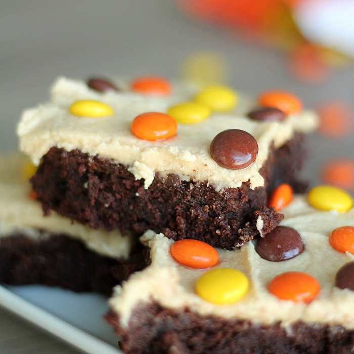 Fudgy Brownies with Peanut Butter Buttercream Frosting