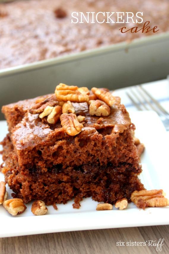 Snickers Cake Gooey Caramel Chocolate Cake Six Sisters