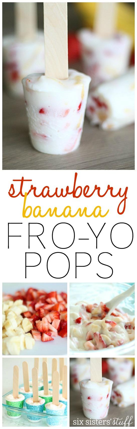 Strawberry Banana Frozen Yogurt Pops from SixSistersStuff.com