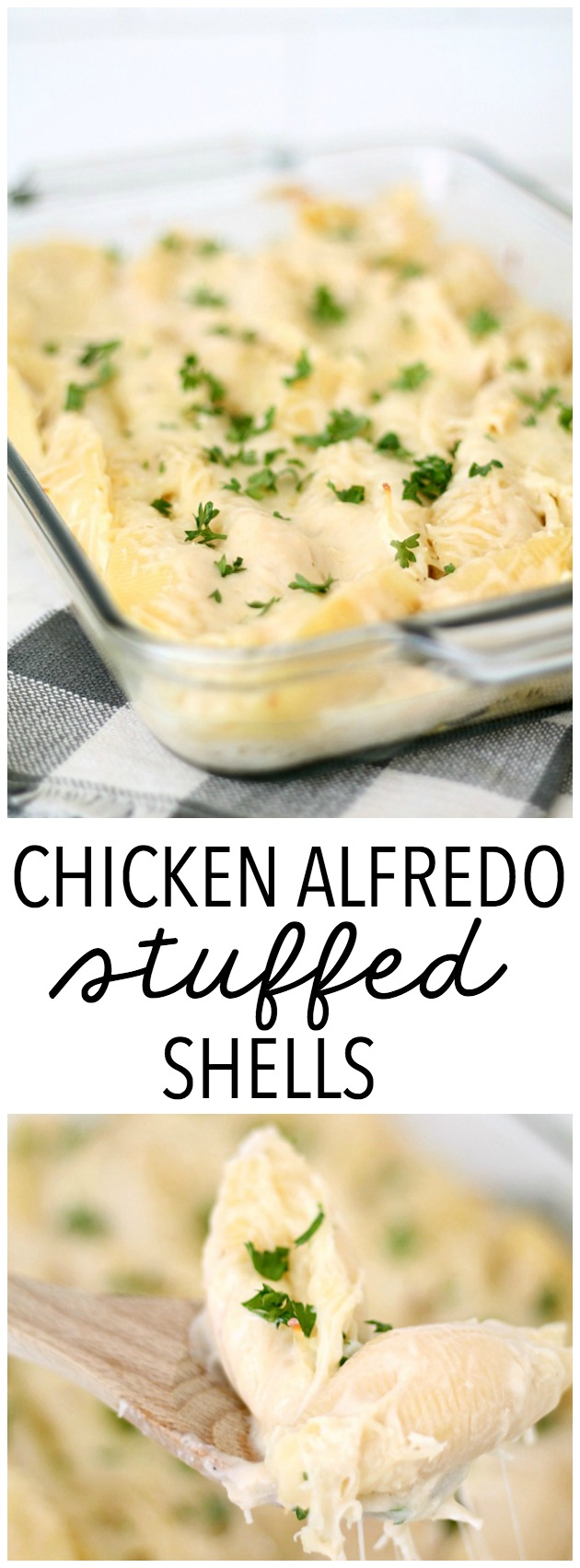 Chicken Alfredo Stuffed Shells Recipe from SixSistersStuff.com