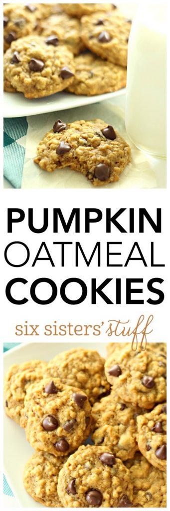 Pumpkin Oatmeal Cookies on SixSistersStuff