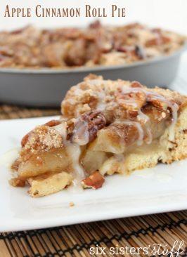Slice of Apple Cinnamon Roll Pie on plate