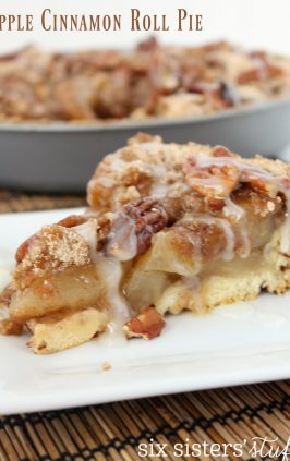 Slice of Apple Cinnamon Roll Pie on plate