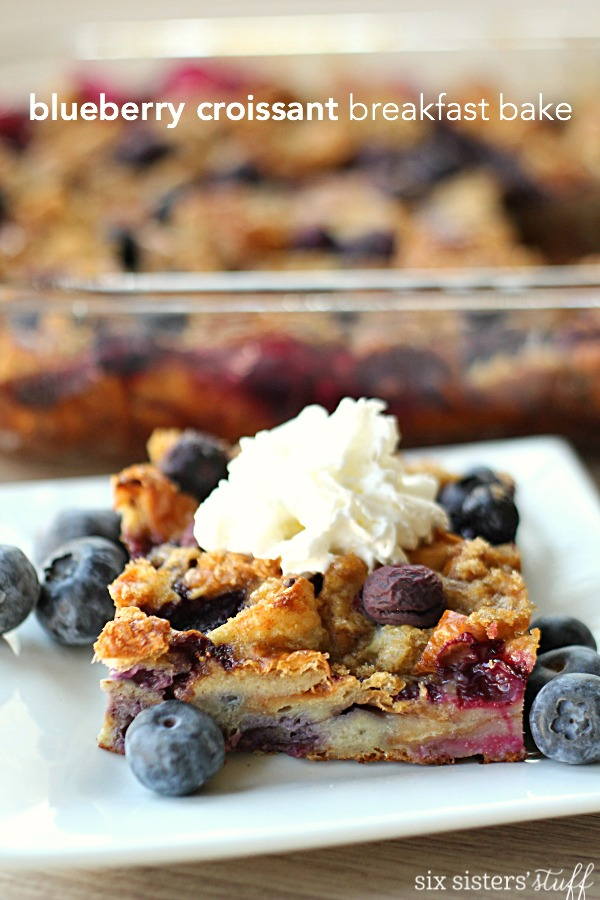 Blueberry Croissant Breakfast Bake on SixSistersStuff