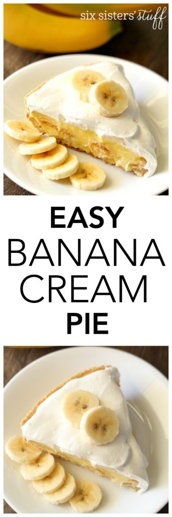 Easy Banana Cream Pie from SixSistersStuff