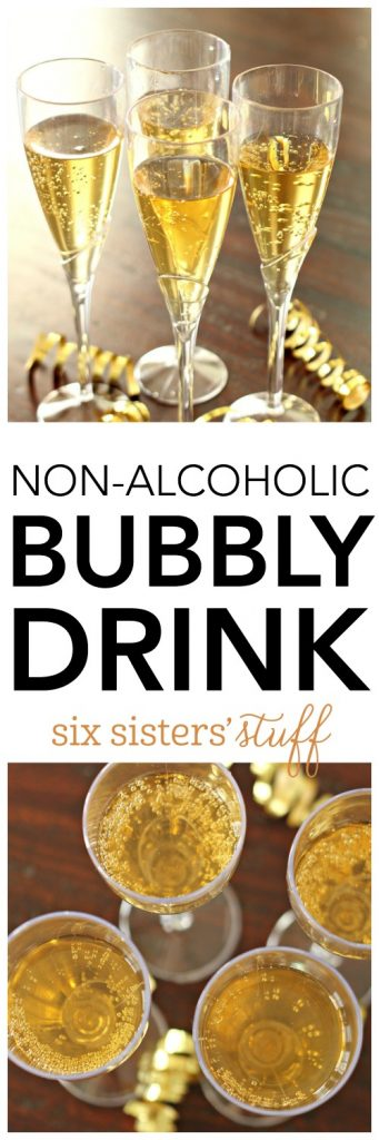 Mock Champagne - non-alcoholic bubbly drink on SixSistersStuff