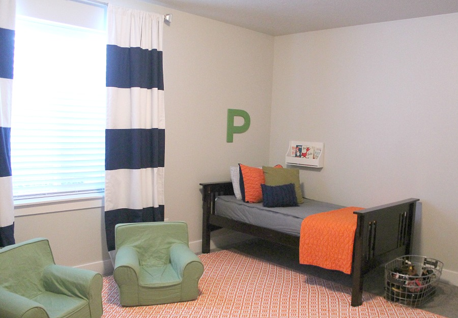 Orange Green and Blue Boys Bedroom