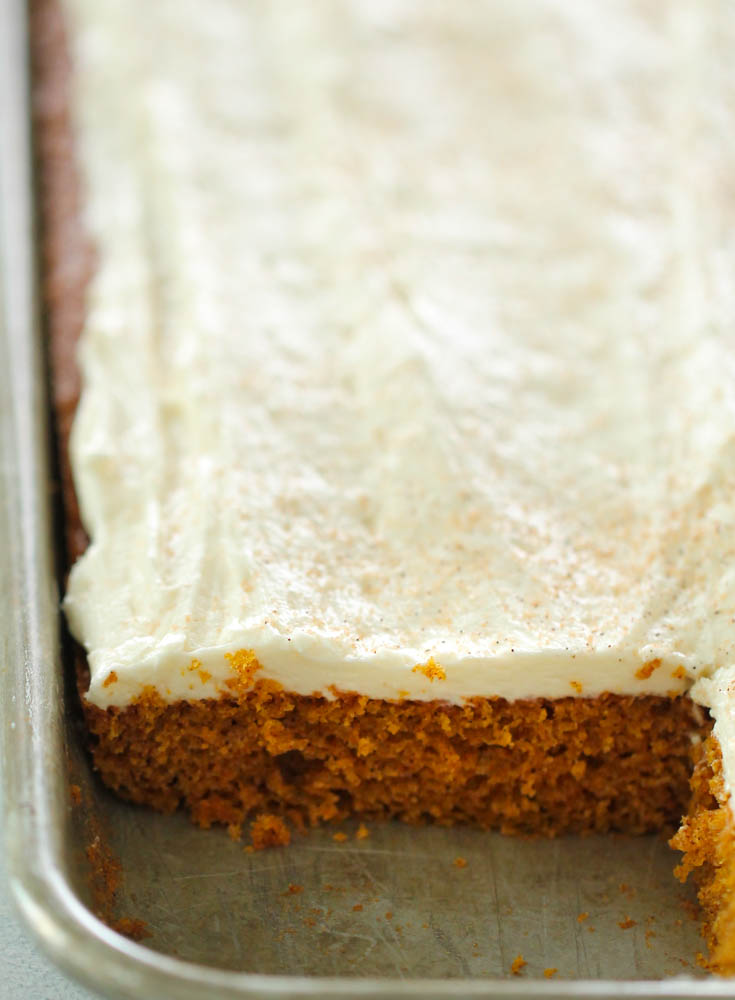 Pumpkin sheet cake still in the pan with a corner piece missing so you can see the fluffy inside of the cake.