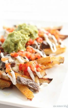 carne asada fries loaded with guacamole