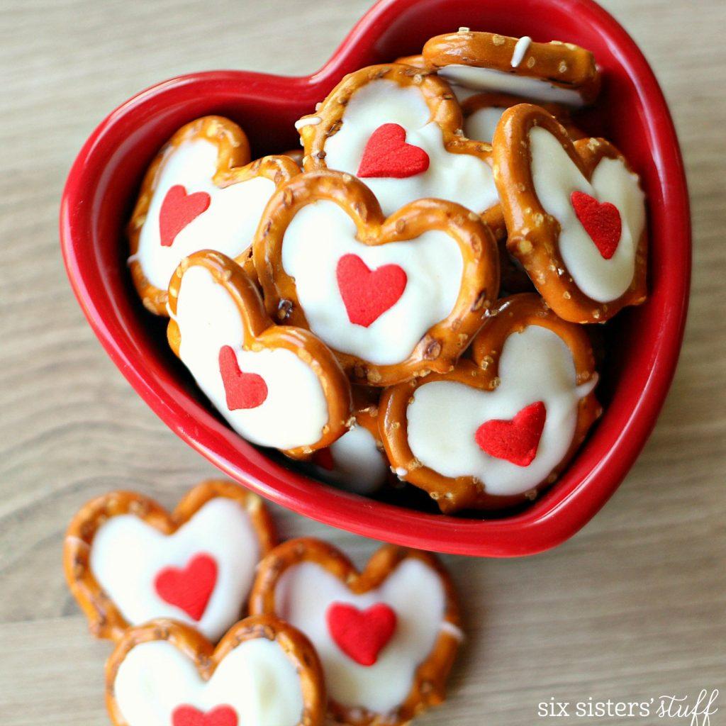 White Chocolate Pretzel Hearts - SixSistersStuff