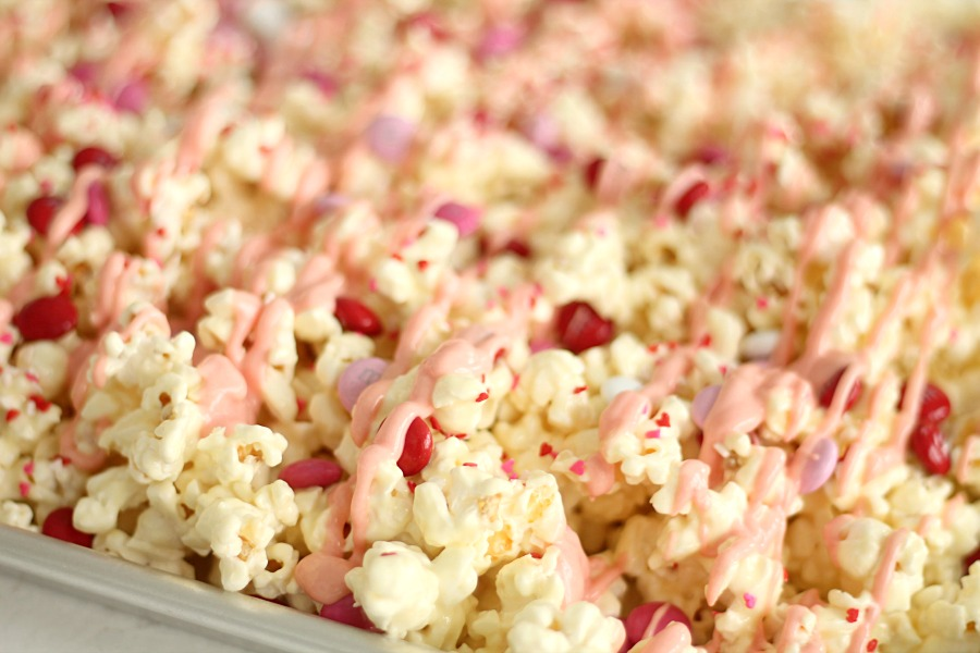 popcorn with candy and white chocolate