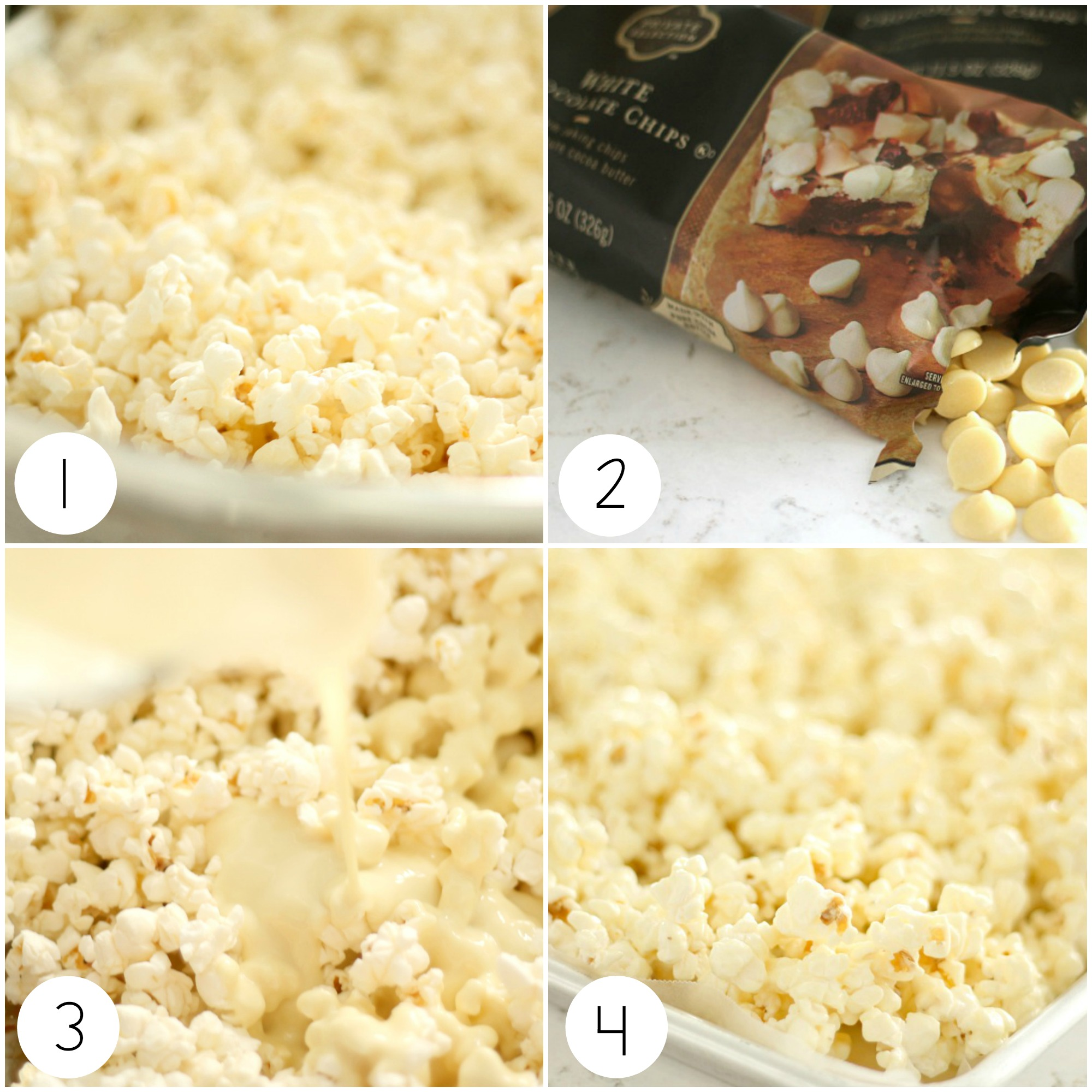 white chocolate popcorn steps