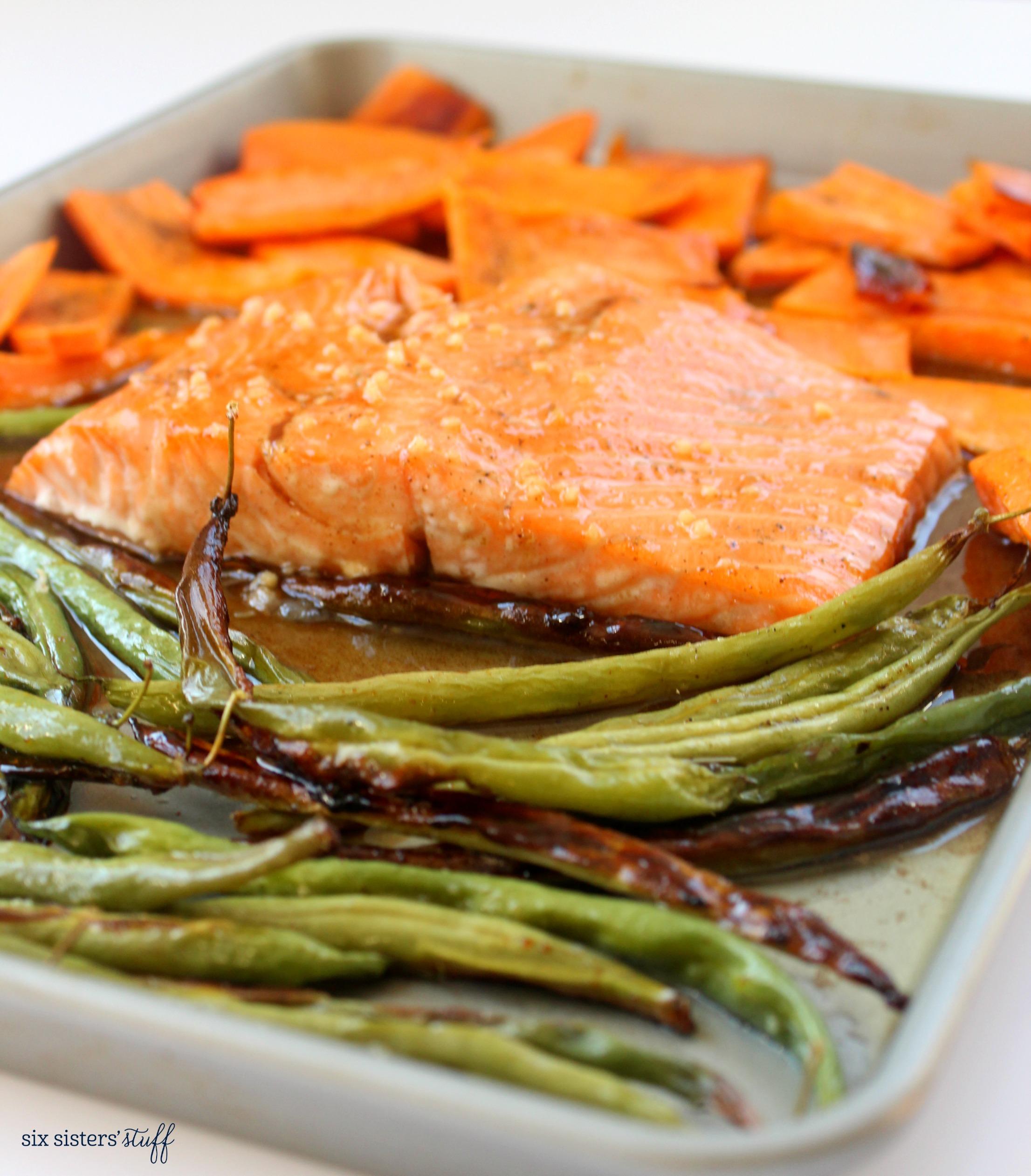 One Pan Honey Glazed Salmon and Veggie Recipe