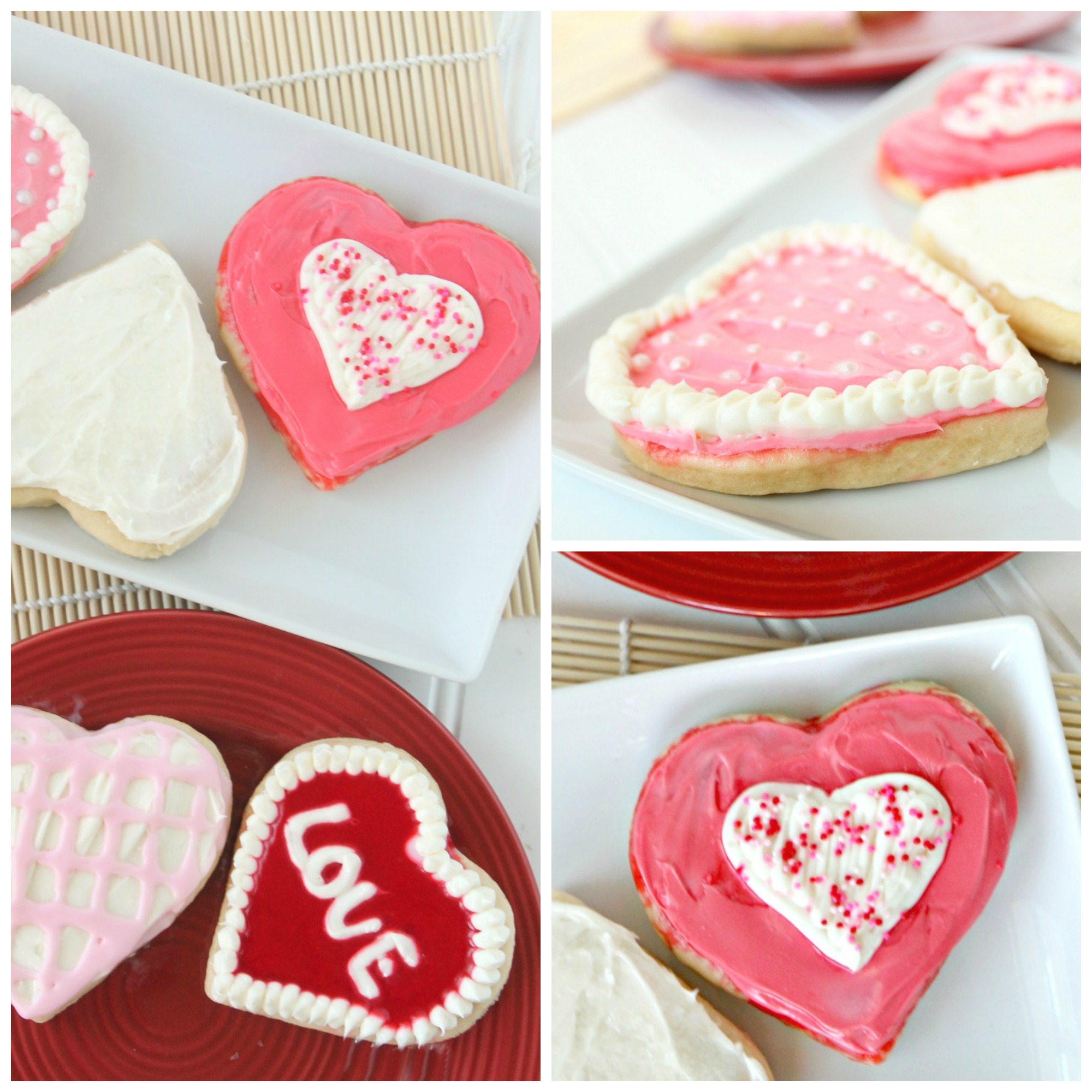 Valentines sugar cookies frosted
