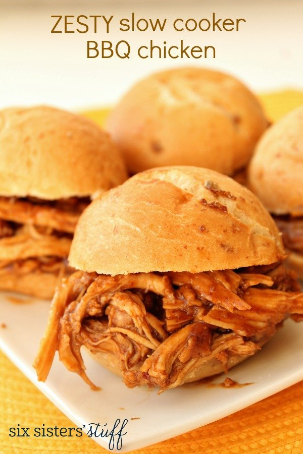 Zesty Slow Cooker Barbecue Chicken – Six Sisters' Stuff