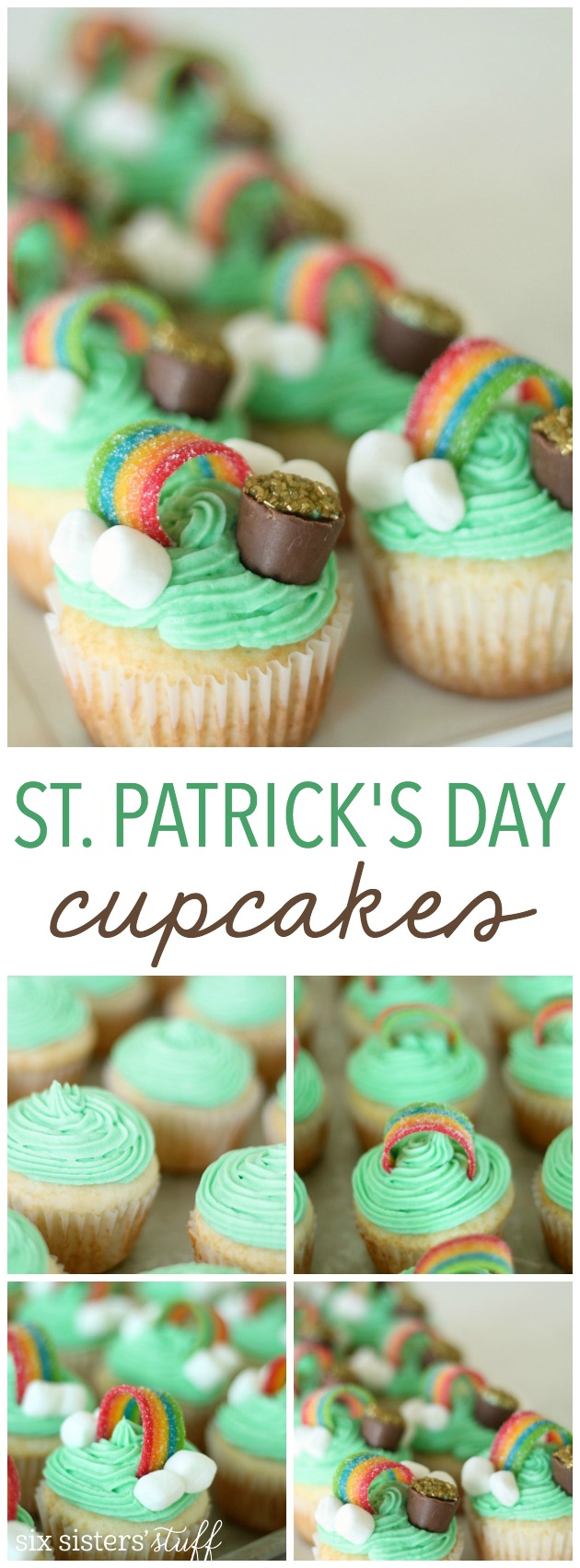 Cute St. Patrick's Day Cupcakes from SixSistersStuff.com