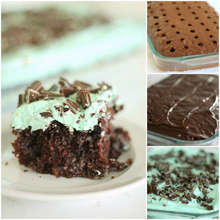Delicious Thin Mint Poke Cake from SixSistersStuff.com
