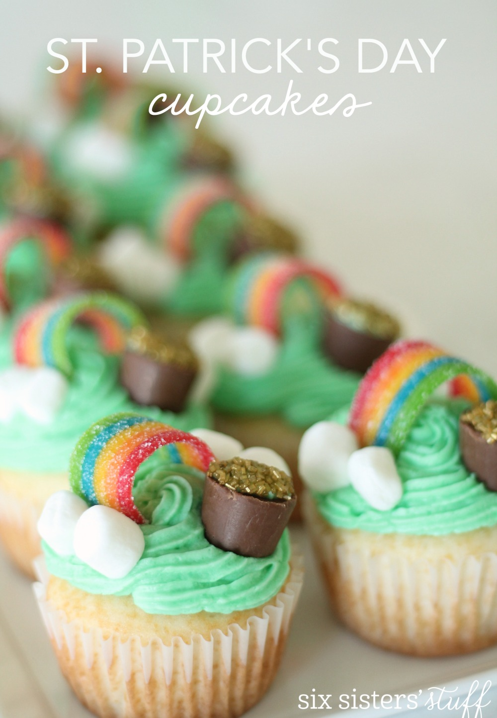 St. Patrick's Day Rainbow Cupcakes from SixSistersStuff.com