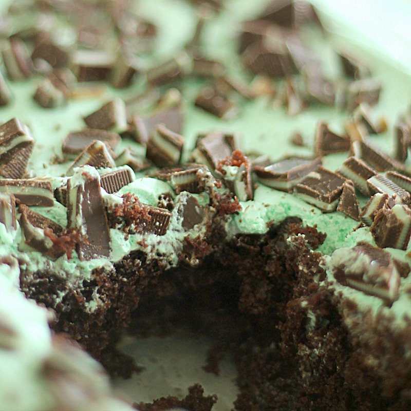 Thin Mint Poke Cake