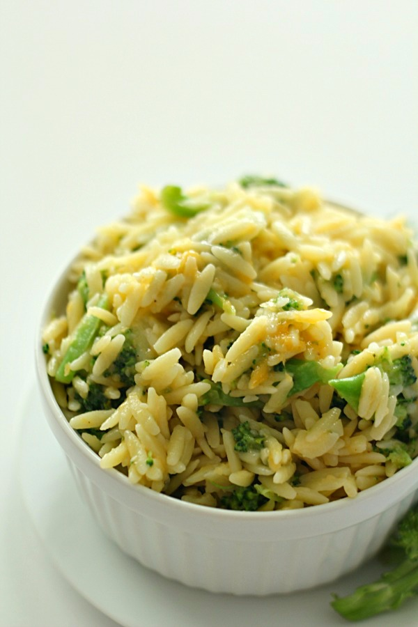 Broccoli and Cheese Orzo SixSistersStuff