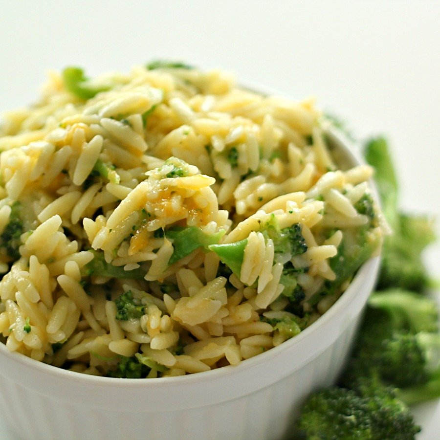 Broccoli and Cheese Orzo from SixSistersStuff