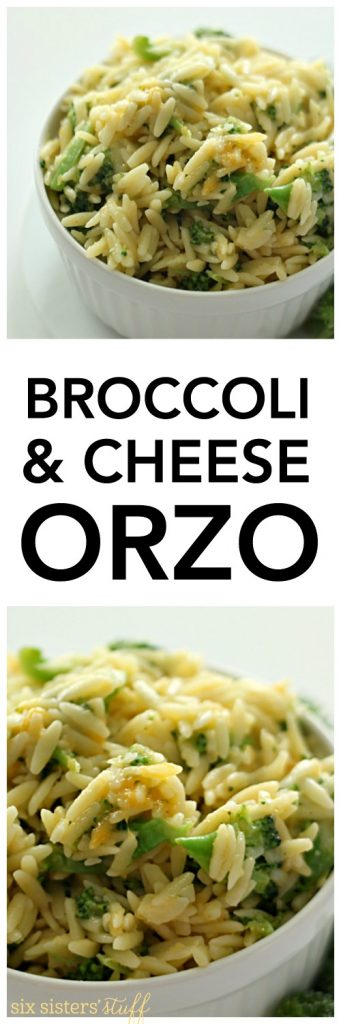 Broccoli and Cheese Orzo on SixSistersStuff