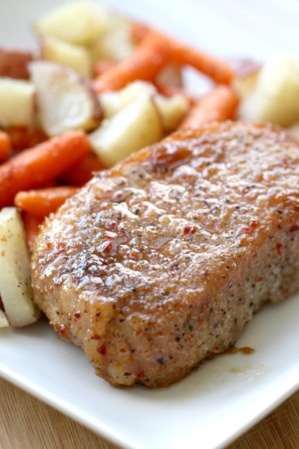 Brown sugar glazed pork chops from six sisters' stuff