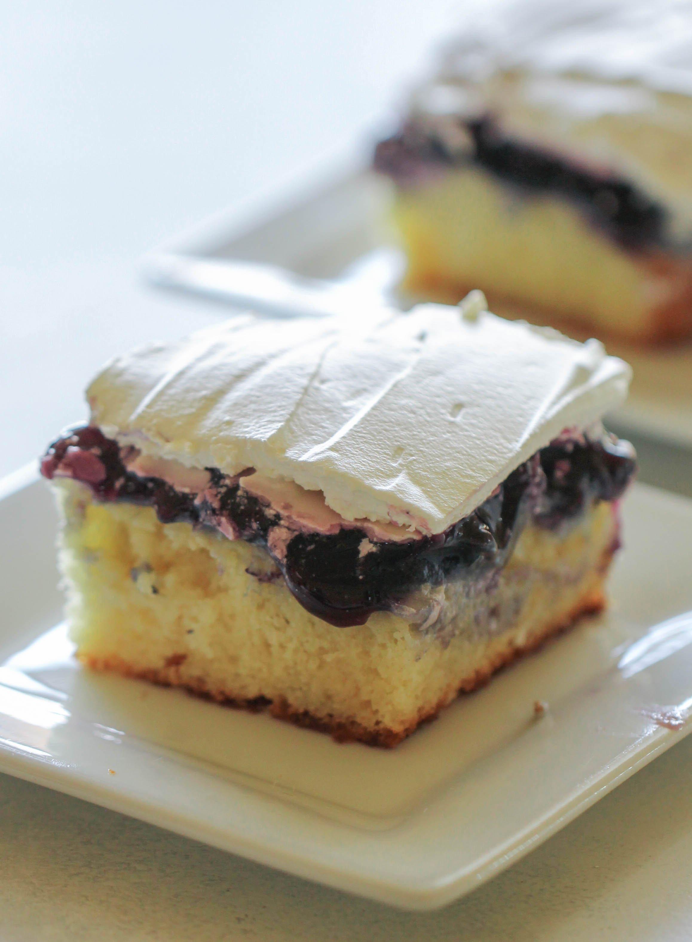 Blueberry Cheesecake Pudding Poke Cake Recipe
