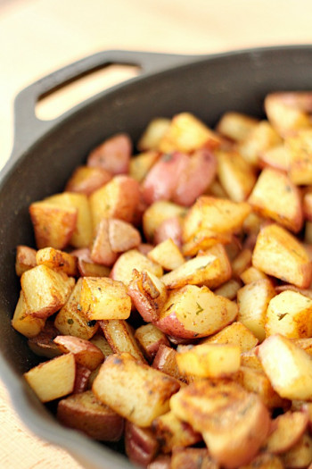 Fried Red Potatoes In Skillet
