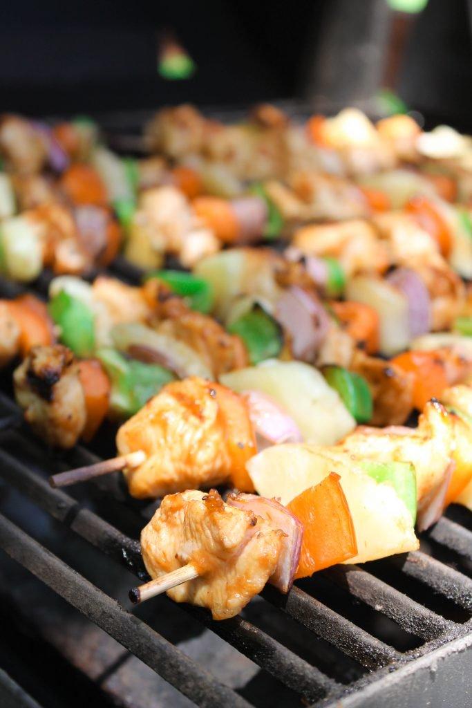 Hawaiian BBQ Chicken Kabobs cooking on grill