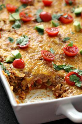 Spanish Beef and Rice Bake