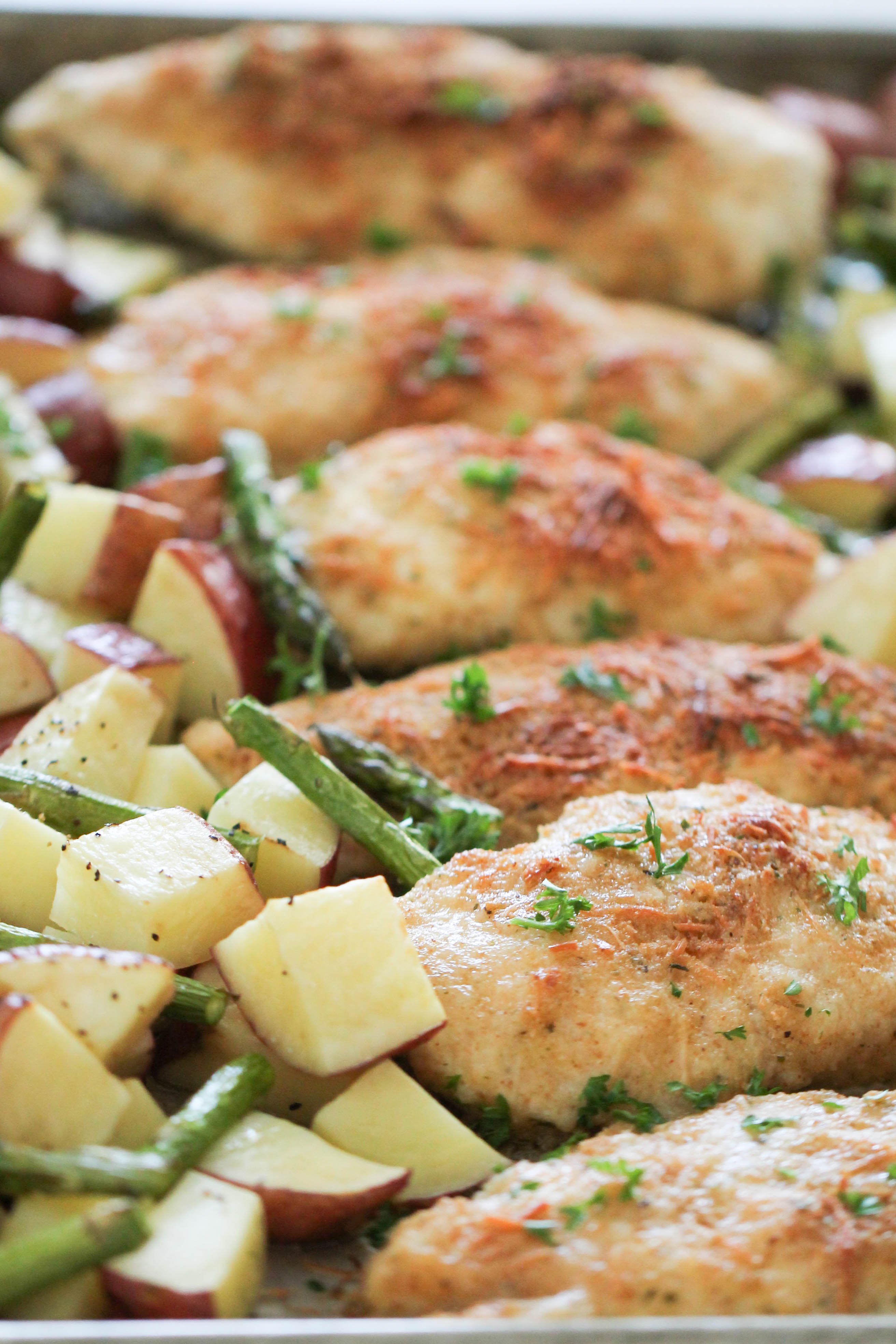 One Pan Baked Parmesan Chicken and Vegetables Recipe