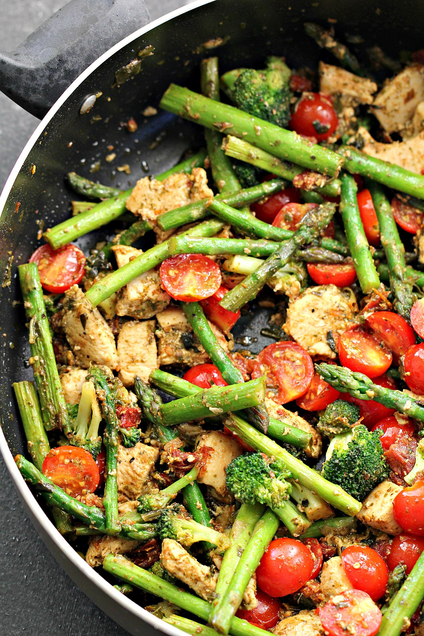 Chicken Pesto and Asparagus Skillet Recipe