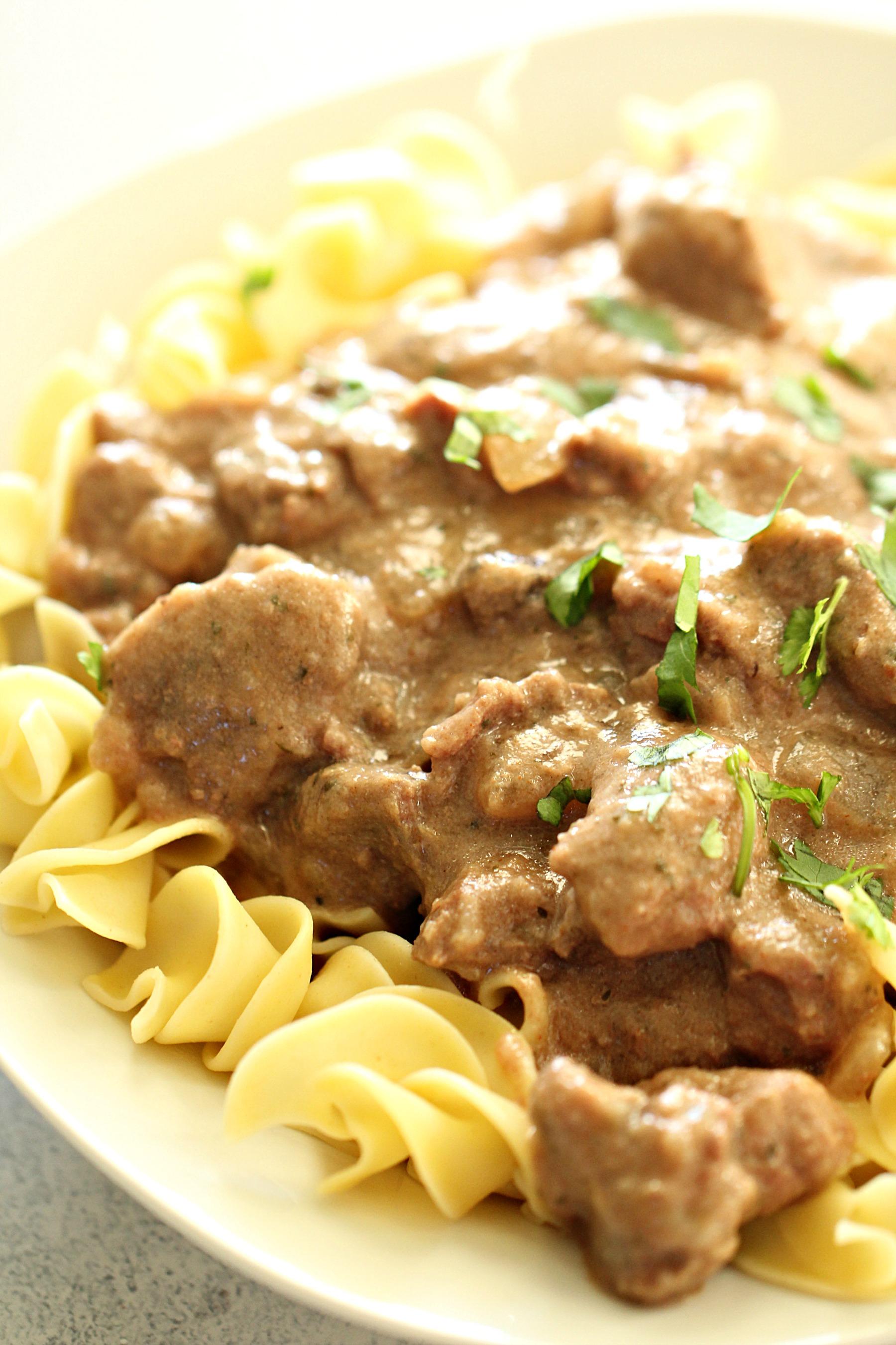 Slow Cooker Healthier Beef Stroganoff (no cream soups)
