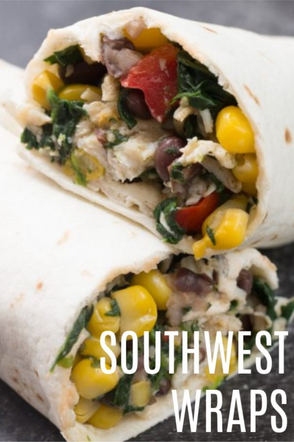 Southwest Wrap cut in half