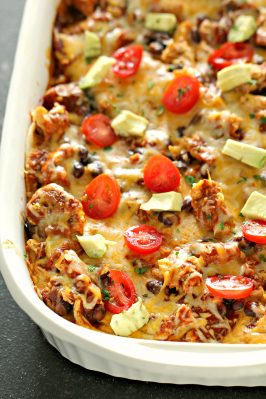 enchilada beef casserole in a baking dish