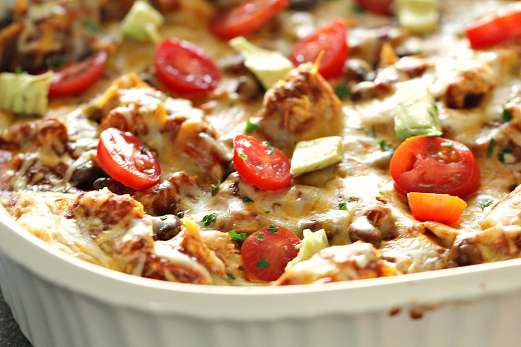 easy enchilada casserole made with just 5 ingredients