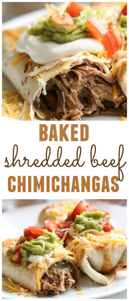 Baked Shredded Beef Chimichanga with toppings