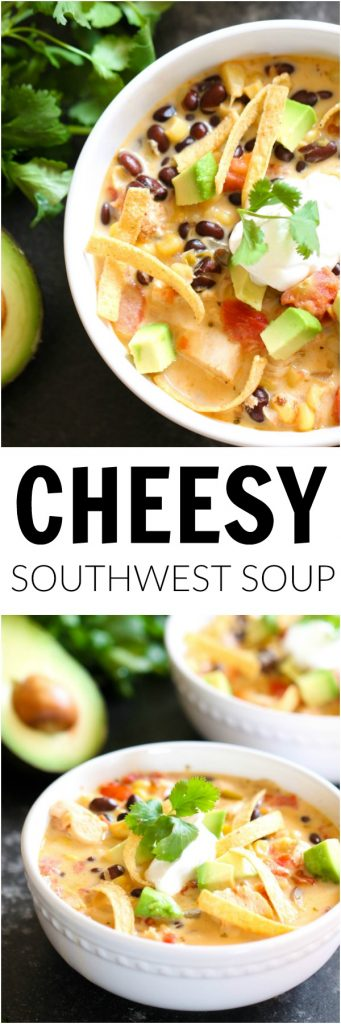 Cheesy Southwest Soup double image with soup and toppings