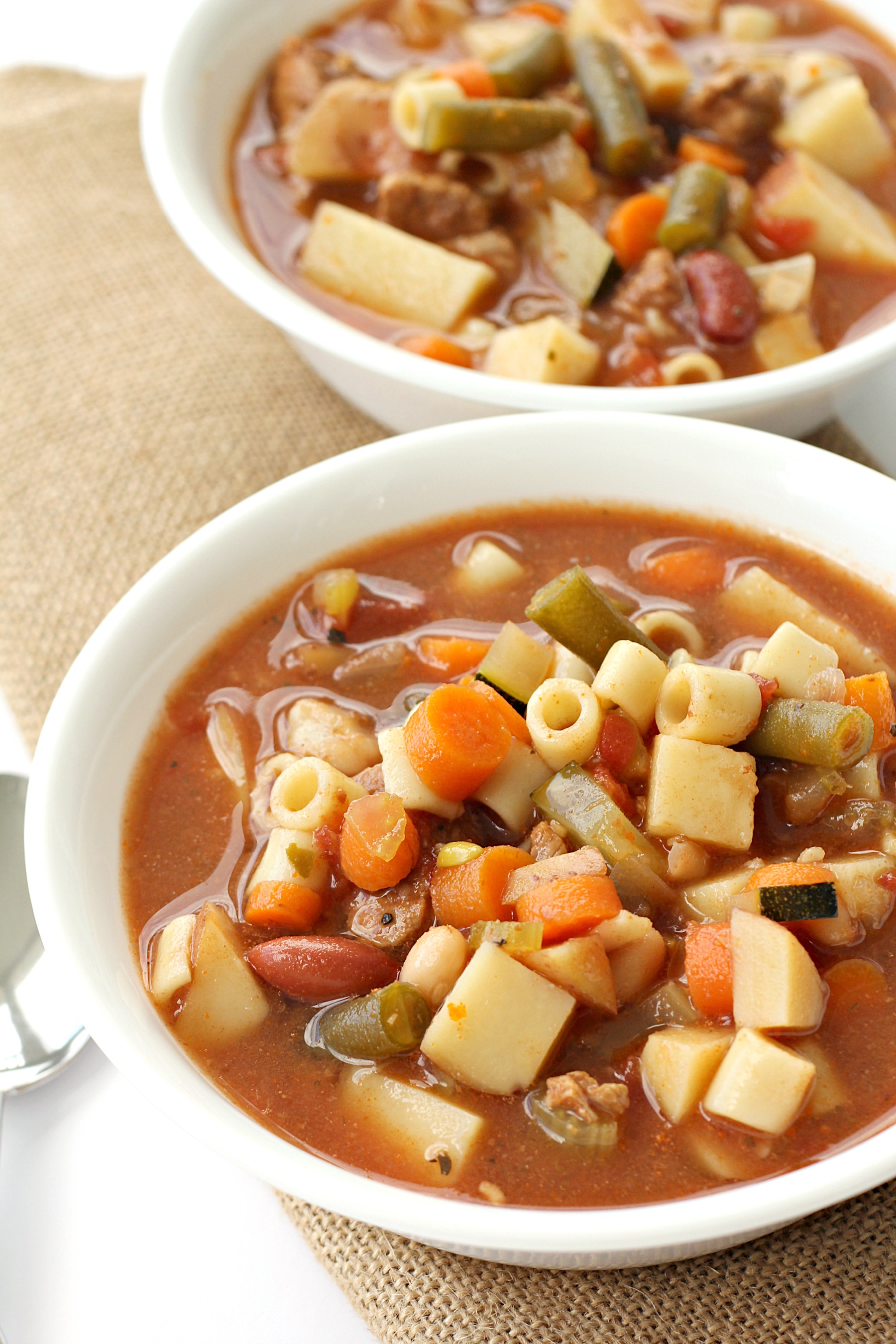 Slow Cooker Beef Minestrone Soup