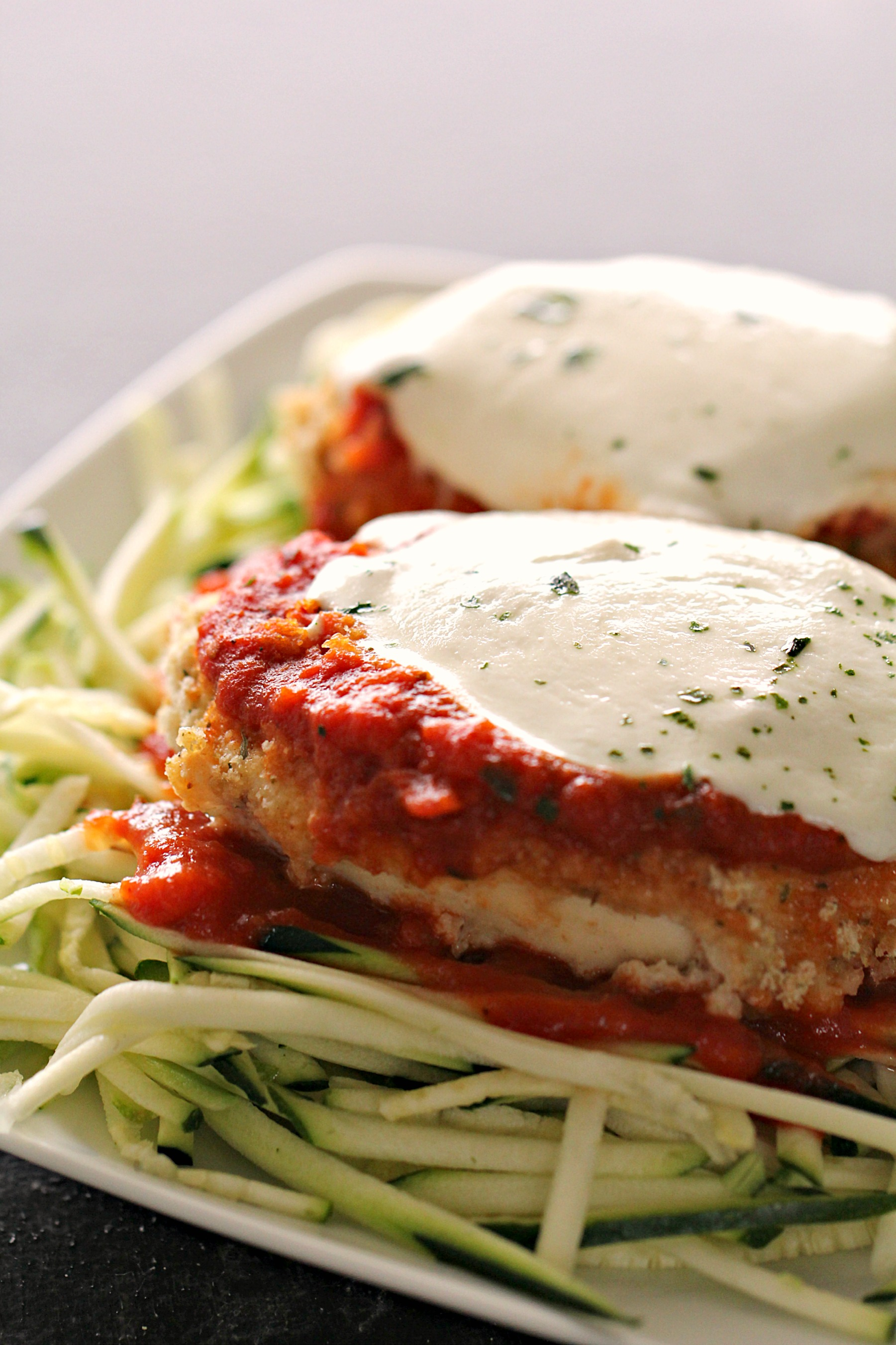 Baked Chicken Parmesan and Zucchini Noodles