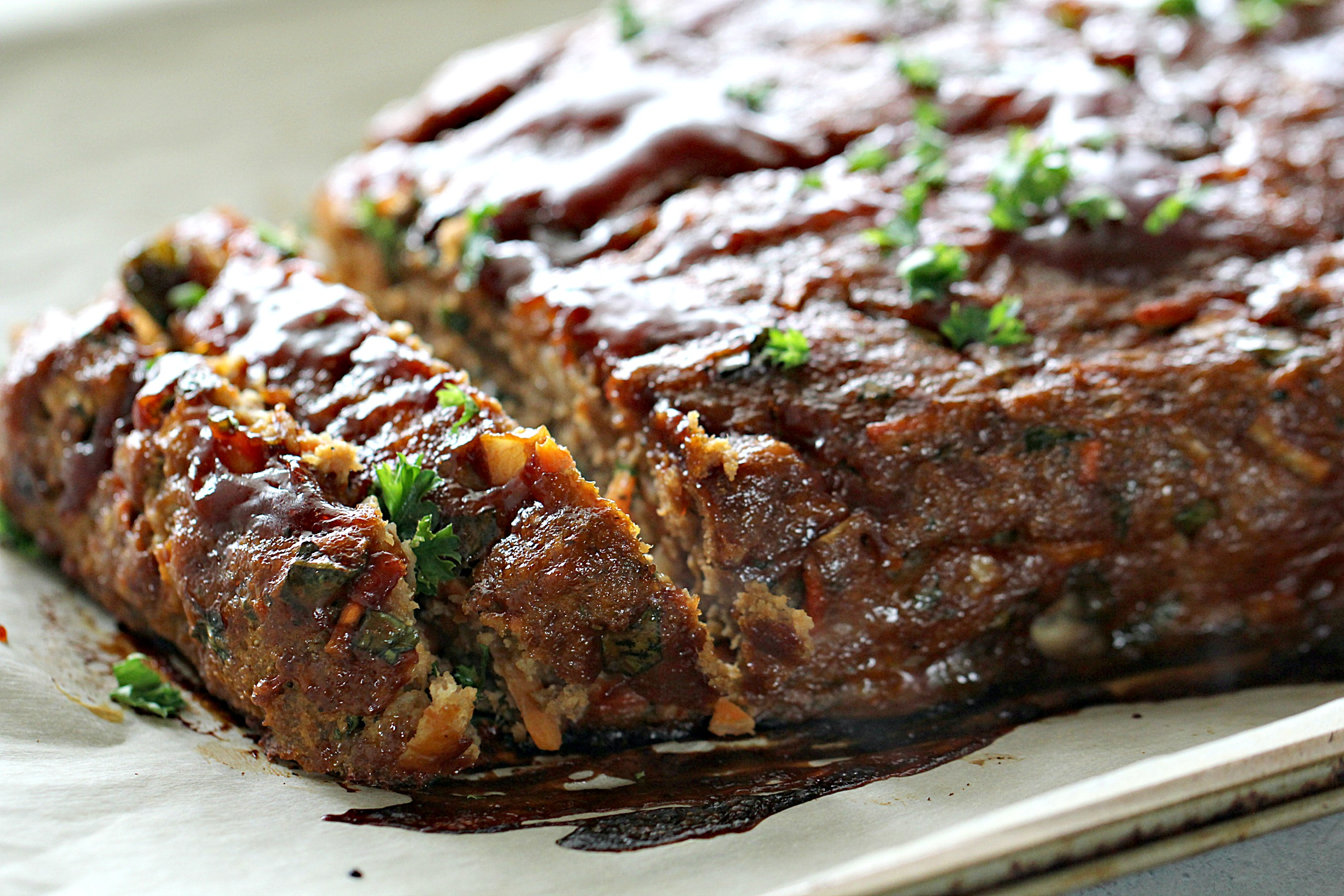Glazed Ground Turkey Meatloaf on a dish