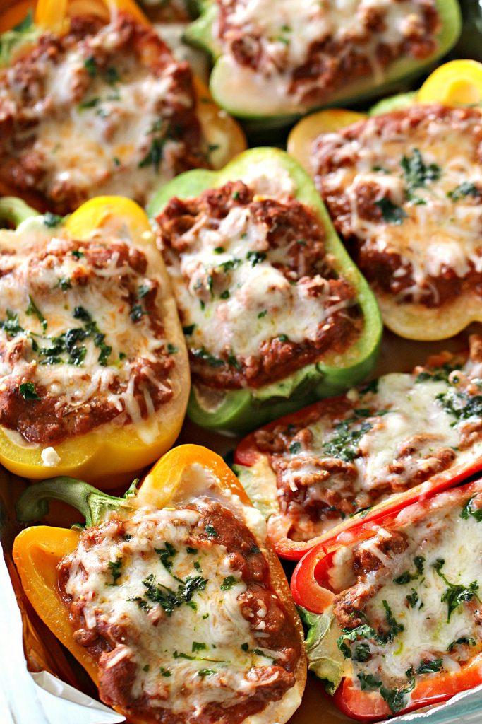 Ground Turkey Lasagna Stuffed Peppers