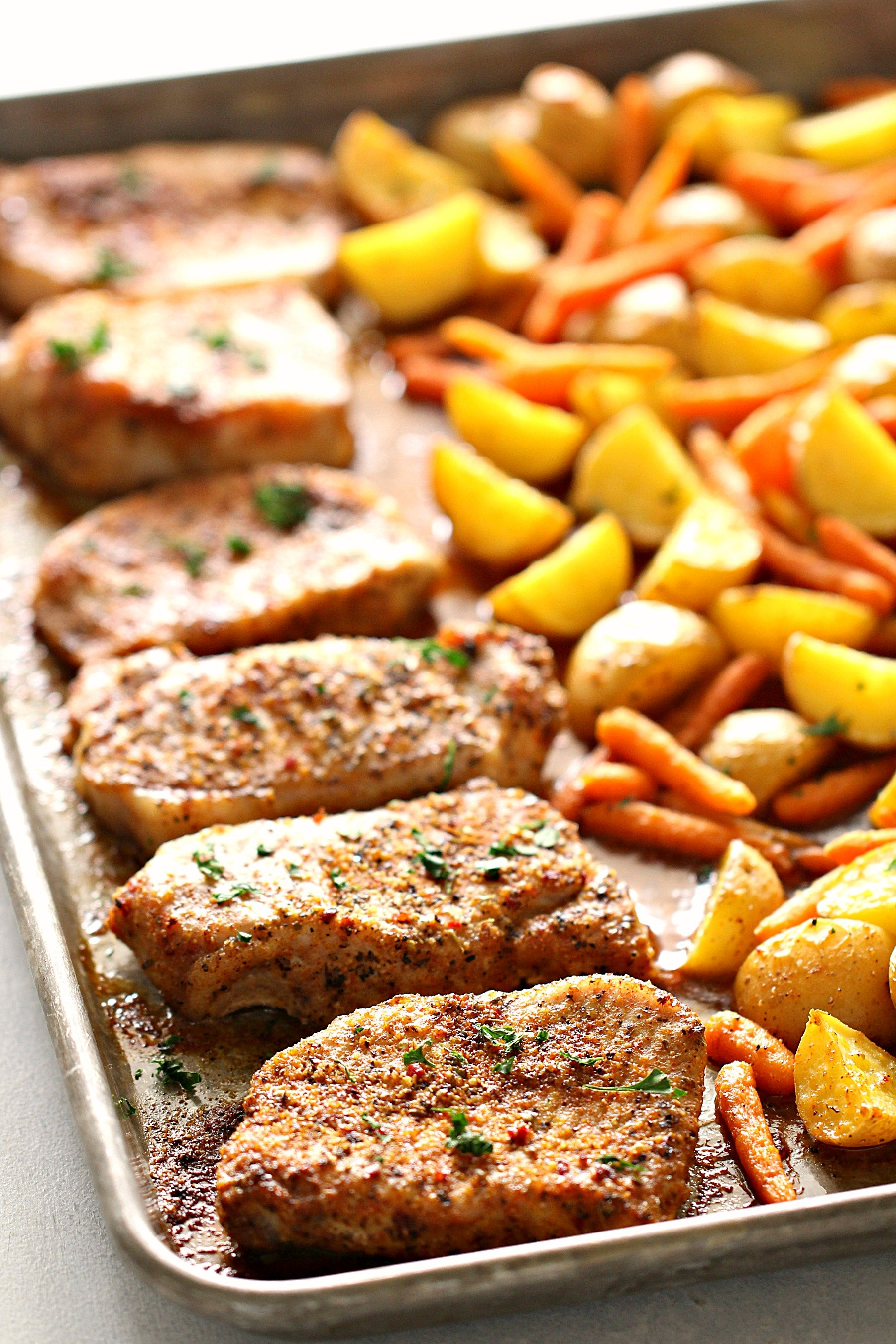 Sheet Pan Italian Pork Chops Recipe with Potatoes and Carrots