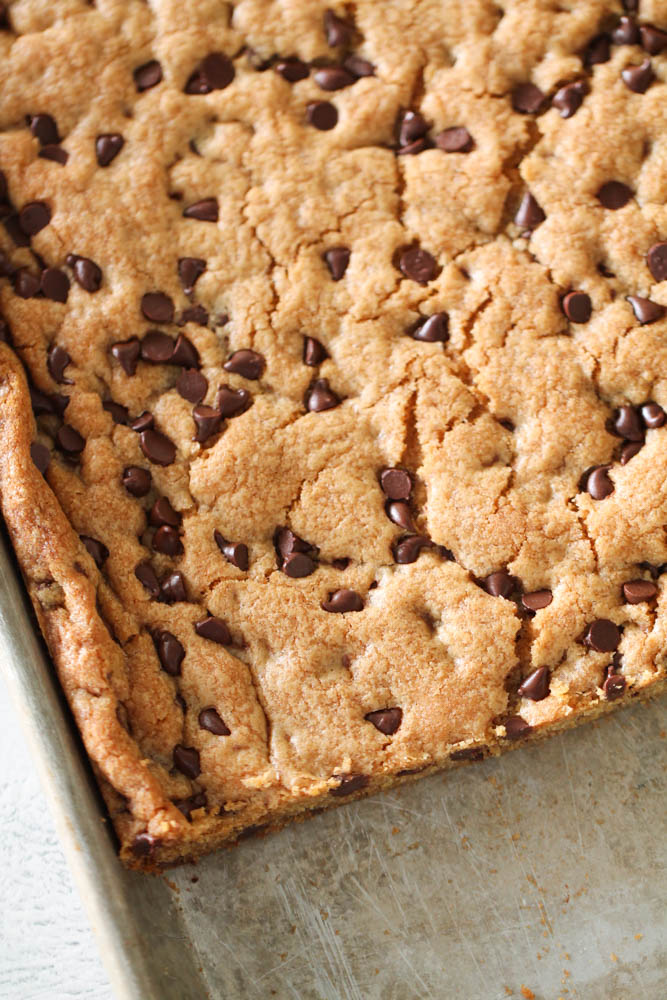 Sheet Pan Chocolate Chip Cookie Bars on a sheet pan
